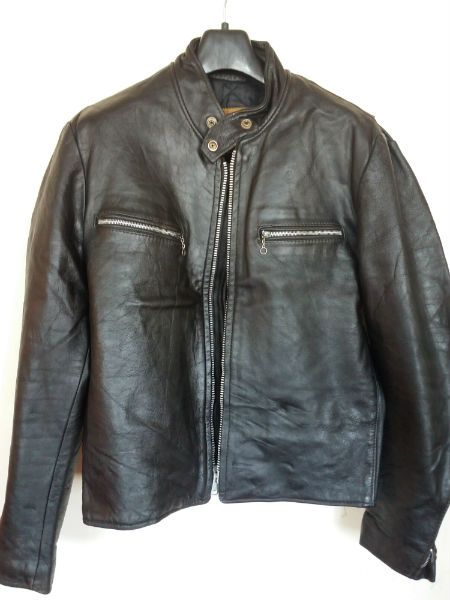 Vtg Excelled Black Cafe Racer Leather Motorcycle Jacket Size